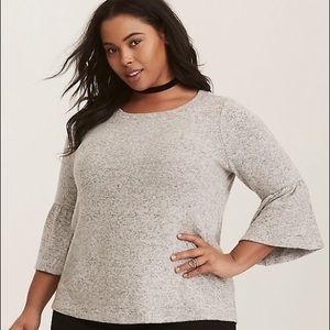 New Torrid Grey Soft Bell Sleeve Sweater 3X 4X 5X